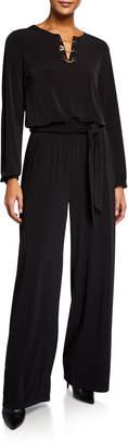 MICHAEL Michael Kors Chain-Neck Long-Sleeve Jumpsuit