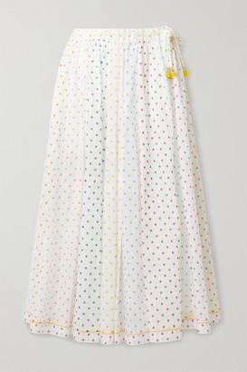Zimmermann Bellitude Tasseled Paneled Polka-dot Cotton-voile Midi Skirt