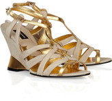 Suede and metallic leather wedge sandals