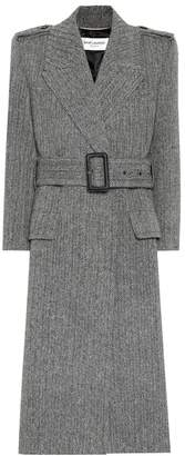 Saint Laurent Wool-herringbone coat