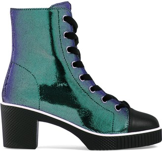 Giuseppe Zanotti Metallic Lace-Up Leather Boots