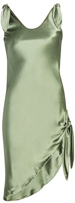 Cult Gaia Delilah Tie-Strap Asymmetric Silk Sheath Dress