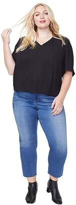 NYDJ Plus Size Plus Size Charming Top (Black) Women's Clothing