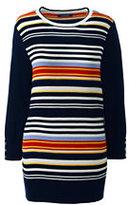 Lands' End Women's Petite Supima Cotton Ottoman Stripe Sweater-Deep Sea Multi Stripe