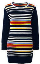 Lands' End Women's Supima Cotton Ottoman Stripe Sweater-Crimson Dawn Colorblock