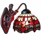 AMORA Amora Lighting AM097WL08 Tiffany Style Dragonfly Wall Sconce Lamp Fixture