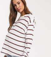 Asos DESIGN Maternity boxy long sleeve crop in mixed stripe