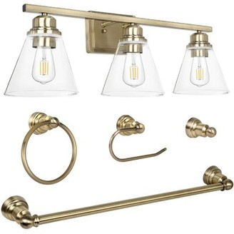 Latitude Run Amneek 3-Light Dimmable LED Vanity Light Finish: Gold
