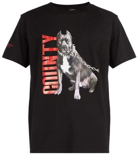 Marcelo Burlon County of Milan Dogo Print Cotton T Shirt - Mens - Black