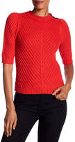 Rebecca Taylor Button Detail Ribbed Knit Sweater