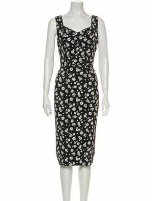 Dolce & Gabbana Floral Print Midi Length Dress Black