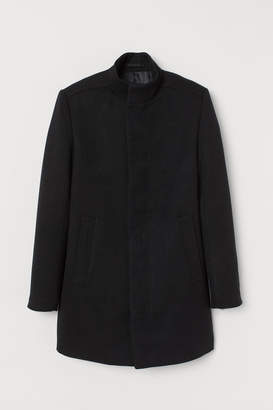 H&M Coat with Stand-up Collar - Black