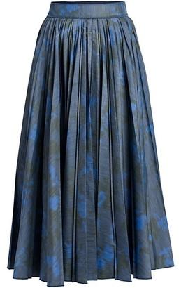 Agnona Plisse Printed A-Line Skirt