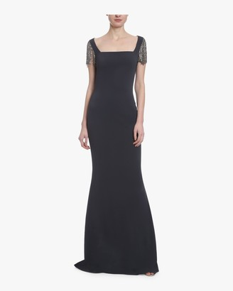Badgley Mischka Embellished Cap Sleeve Gown