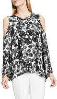 Vince Camuto Women's Festive Lace Print Cold Shoulder Blouse