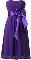 Azbro Women's Strapless Cocktail Party Bridesmaid Dress with Bowknot, L