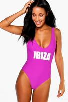 Boohoo Ibiza Scoop Neck Slogan Swimsuit