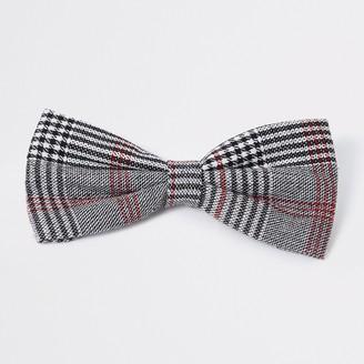 River Island Mens Grey check print bow tie