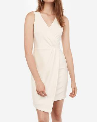 Express Surplice Front Pleated Sheath Dress