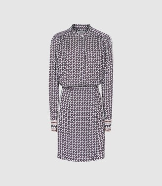 Reiss Aidy - Paisley Printed Shirt Dress in White & Blue