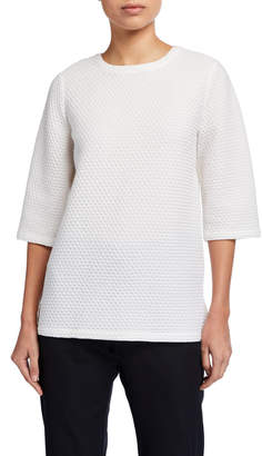 Eileen Fisher Plus Size Honeycomb Textured Elbow-Sleeve Boxy Top