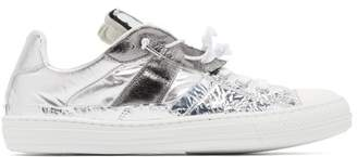 Maison Margiela Metallic Leather Trainers - Mens - Silver