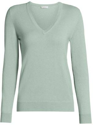 Brunello Cucinelli Long-Sleeve V-Neck Cashmere Sweater