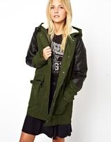 Asos Parka With Detachable Faux Fur Lining & Quilt Detail Sleeve - Khaki