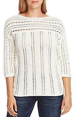 Vince Camuto Boat Neck Open-Stitch Sweater