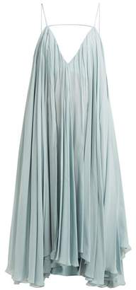 Jacquemus Bellezza Low Back Chiffon Midi Dress - Womens - Light Blue