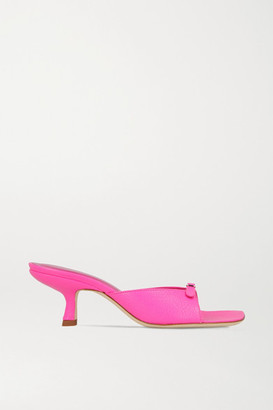 BY FAR Erin Buckle-embellished Leather Mules - Pink