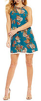 Jodi Kristopher High Neck Floral-Print Shift Dress