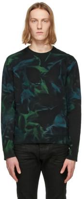 Saint Laurent Black and Green Tie-Dye Rive Gauche Logo Sweatshirt