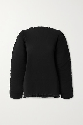 Totême Azores Oversized Plisse-crepe Top - Black