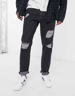 Jack and Jones Intelligence tapered fit ripped jeans in vintage dark gray