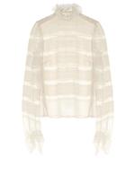 Isabel Marant Sondra striped-lace silk blouse