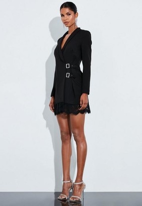 Missguided Black Lace Buckle Blazer Dress