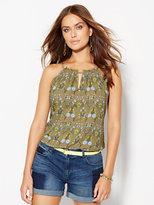 New York & Co. Ruffle-Trim Keyhole Halter Blouse - Floral
