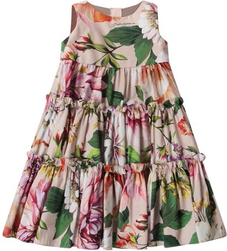 Dolce & Gabbana Pink Babygirl Dress With Colorful Flowers