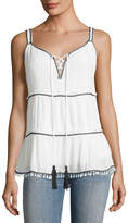 Willow & Clay Contrast-Trim Embroidered Tank, White/Black