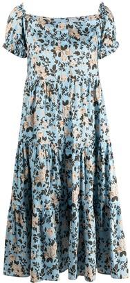 Semi-Couture Floral-Print Off-Shoulder Dress