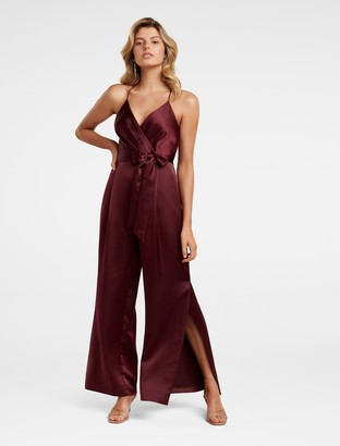 Forever New Maddison Petite Satin Wrap Jumpsuit - Berry - 8