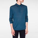 Paul Smith Men's Petrol Blue Merino-Wool Long-Sleeve Polo Shirt