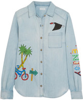 Mira Mikati Ice Cream Van Painted Denim Shirt - Light denim