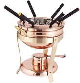 Old Dutch Dcor Copper and Brass Fondue Set with6 Forks 2.75 Qt
