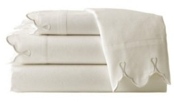 Belle Epoque 300 Tc Scalloped Embroidered Sheet Set, King Bedding