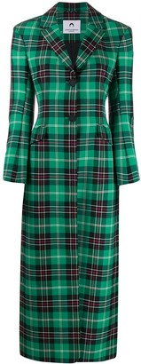 Marine Serre Single Breasted Plaid Coat