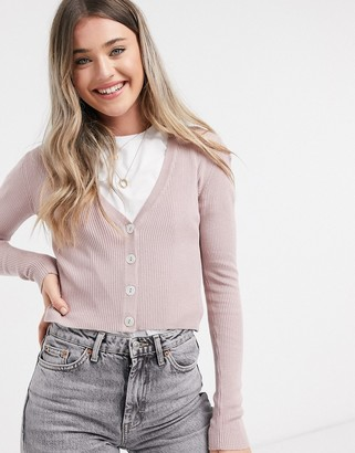 JDY donnell long sleeve cropped cardigan in grey