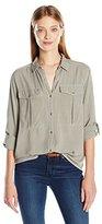 Calvin Klein Jeans Women's Garmet Dye Utility Shirt with D-Rings