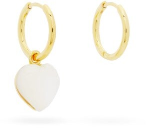 Mother of Pearl Theodora Warre - Mismatched Mother-of-pearl Hoop Earrings - Womens - Gold